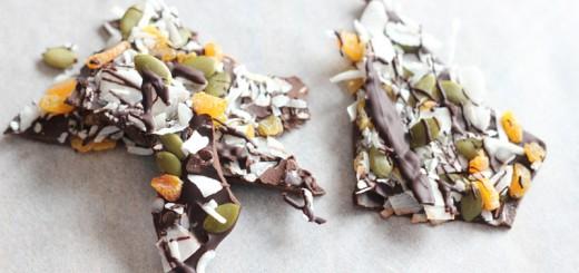 Apricot, Pumpkin Seed, Coconut Dark Chocolate Bark